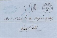 ROMANIA JUDAICA 1867 AUSTRIA LEVANT ENTIRE LETTER GIURGEVO PNK TO CONSTANTINOPLE