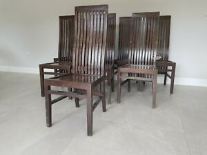 high back wooden dining chairs used 12 available