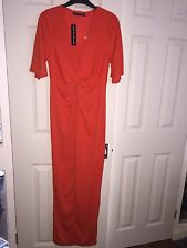 BNWT'S Definitions size 10 orange full length v-neck short sleeve maxi dress