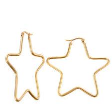 XXL Creolen Goldener Stern 60 mm Edelstahl 316L Ohrringe groß Kreolen Damen