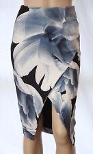 KOOKAI Size 36 (AUS 6-8) Floral Wrap Front Scuba Pencil SKIRT White, Blue