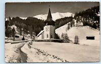 *Das Frauenkirchli bei Davos Switzerland Church Clock Vintage Photo Postcard C80