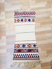 Vintage Old Hand Made Cotton Indian Runner Carpet Dari Sindh Work