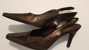 Stiletto Heel Dress Shoe In Brown Satin, Sequin, And Leather, Gorgeous On!Sz.9M