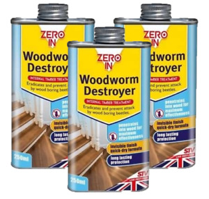 Zero In Woodworm Destroyer Killer Timber Treatment Fast Drying 250ml ZER978