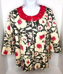 Nanette Lepore Ivory Pink & Grey Blazer Jacket Beaded Necklace Trim Size 8