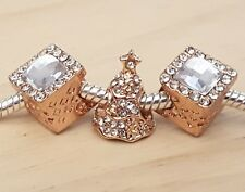 Rose Gold Christmas Tree White Crystal Rhinestone Diamond Beads European Charms