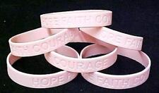Breast Cancer Awareness Silicone Bracelets Pink Support 6 pc Lot Latex Free New
