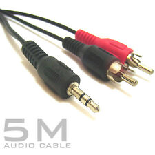 5M Metre 3.5mm Stereo Audio Jack to 2x RCA Phono Plugs Cable Lead ipod IPAD Dj