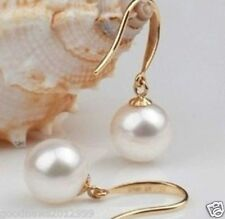 perfect round AAA Akoya 9-10mm white pearl Earrings 14k gold Drop/Dangle style