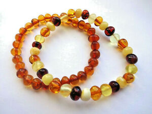 Genuine Baltic Amber  Bracelet- 7inch - Choose your color!