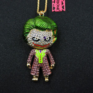 Hot Purple Rhinestone Cute Enamel Joker Crystal Pendant Betsey Johnson Necklace
