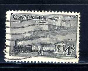 1951 Canada Stamp - Scott #311/A129 4c Dark Gray Canc/LH