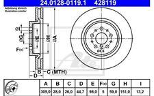 ATE Juego de 2 discos freno 305mm ventilado para ALFA ROMEO 156 147