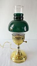 Vintage Brass Desk Lamp w/Ribbed Cased Green Glass Shade Student Milk Light