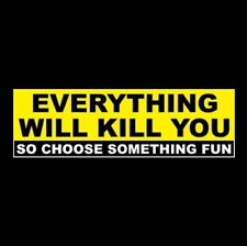 """EVERYTHING WILL KILL YOU"" motorcycle skydiving STICKER rock climbing surfing"