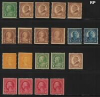 1923 Sc 597-606 rotary coil singles mixed lot MNH set CV $65