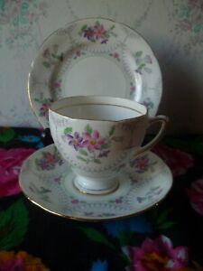 Pretty Vintage Royal Grafton English China Trio Tea Cup Saucer Plate Marina