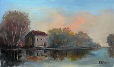 Haus am See unter Birken bei Sonnenuntergang, Öl-Gemälde Fred Nömeier *1938
