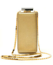 Lanvin Vertical Silver Gray & Gold Two Side Minaudiere Clutch Shoulder Bag $2350