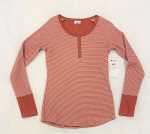 NEW Columbia Womens Along the Gorge Thermal Henley Terracotta Orange Brown Sz M
