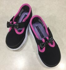 """SKECHERS GOwalk """"Bitty Bow"""" Toddler Girl's Black/Hot Pink Sneakers~~Size 6"""