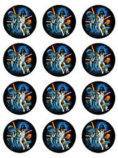 12 STAR WARS EDIBLE ICING CUPCAKE CUP CAKE TOPPER DECORATION IMAGES PARTY