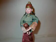 """Old Chinese Doll In Silk Costume Wired Onto Wood Stand 10 1/4"""" Tall - FREE S/H"""