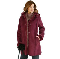 Faux Suede Sheepskin Fur Red Wine Mid Length Coat with Removable Hood Plus Size