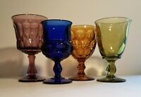 Set of 4 Mixed Colored Glass Goblets - Mid-Century