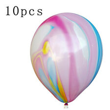 "10PCS 12"" Agate Color Latex Helium Balloons Multi-Color Wedding Party Decor"