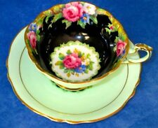 Paragon Dramatic BLACK TAPESTRY ROSE Fine Bone China Cup & Saucer