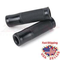"7/8"" 1"" Universal Black Rubber Gel Handle Bar Open End Aluminum Motorcycle Grips"