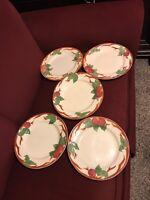 "Set Of 5 Franciscan Apple 10.5"" Dinner Plates No Chips"