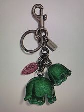 COACH - Glitter Tea Rose Bag Charm Key Fob Ring Chain, Black Kelly Green, F58514