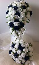 WHITE & BLUE ROSES  AND PACKAGE 6 PIECES WEDDING  BOUQUET  SILK FLOWERS