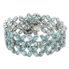 De Buman 40.9g Sterling Silver 100% Natural Blue Zircon Flowers Bracelet 6.8""