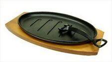 Cast Iron Sizzling Steak Plate Wooden Base #tbsp1 S-1807