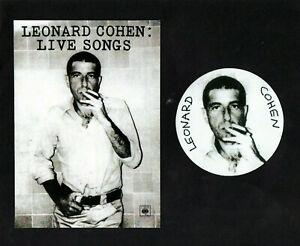 LEONARD COHEN STICKER & POSTCARD. Repro.