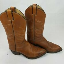 Vintage Justin Mens Cowboy Boots Brown Leather Sz 7 D (W1245 J8559) 14 inch Tall