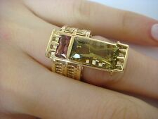 !UNUSUAL HEAVY 14K YELLOW GOLD LADIES GEMSTONE RING 11.0 GRAMS, SIZE 5