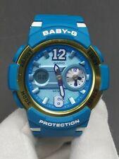 C asio Baby-G BGA-210-2 Ladies Analog Digital Blue Gold Sport Watch