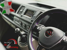 FOR IKCO ARISUN -BLACK STEERING WHEEL COVER PURPLE STITCH