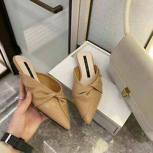 Women Outer Slippers Pointed Toe Big Bow Low Heel Mules Casual Comfy Shoes Style