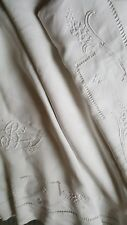 superbe drap ancien fil de lin brodé monogrammé 287 x 211
