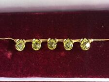 "Beautiful 9ct Gold & Peridot 7"" Bracelet"