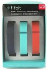 GENUINE FITBIT Flex Replacement Bands, Metal Clasp, Large/Navy, Teal, Tangerine