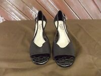 Franco Sarto Open Toe Leather Fabric Pump Size 7.5 Black