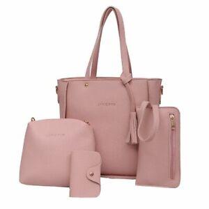 Fashion Bag Set Handbag Shoulder Lady Handbag Purses Solid Pattern Leather Women