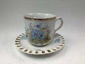 Antique Moustache Cup & Saucer Set w/ Blue Forget-Me-Not Flowers